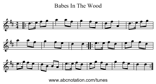 Babes In The Wood - staff notation