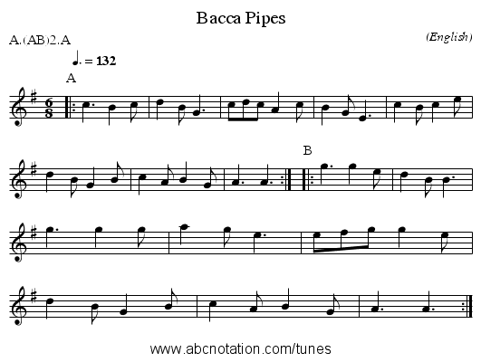 Bacca Pipes - staff notation