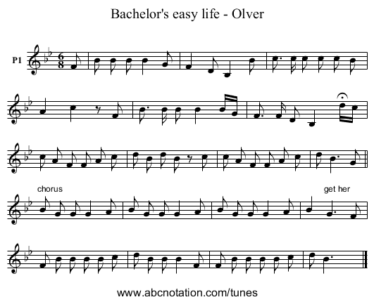 Bachelor's easy life - Olver - staff notation