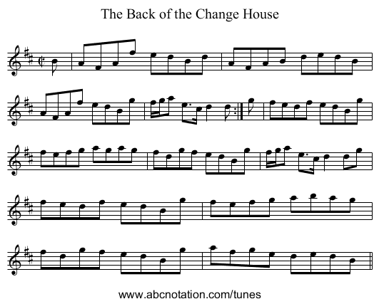 Back of the Change House, The - staff notation