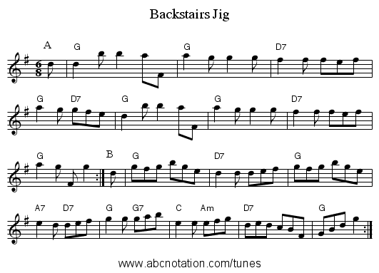 Backstairs Jig - staff notation