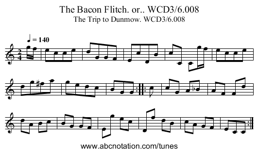 Bacon Flitch. or.. WCD3/6.008, The - staff notation