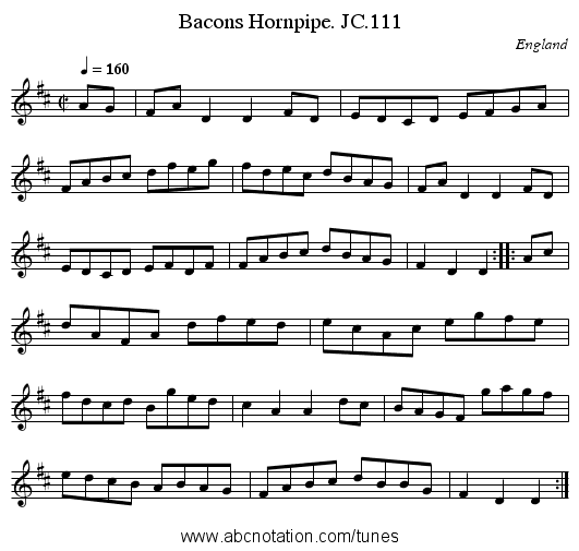 Bacons Hornpipe. JC.111 - staff notation