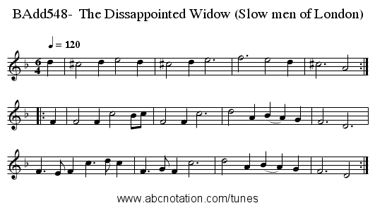 BAdd548-  The Dissappointed Widow (Slow men of London) - staff notation