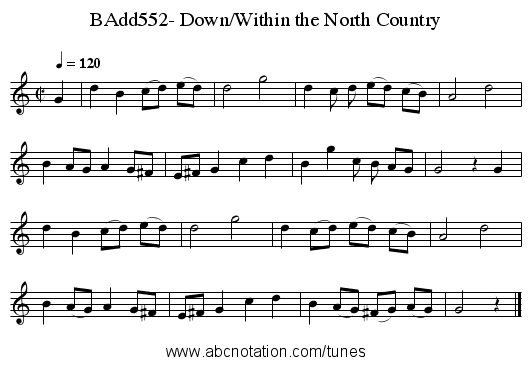 BAdd552- Down/Within the North Country - staff notation