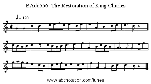 BAdd556- The Restoration of King Charles - staff notation