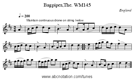 Bagpipes,The. WM145 - staff notation