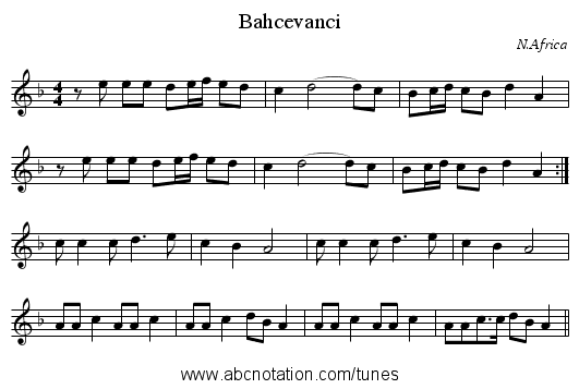Bahcevanci - staff notation