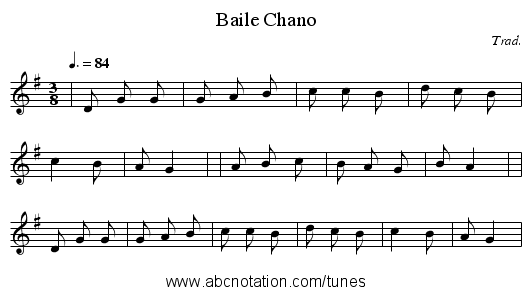 Baile Chano - staff notation