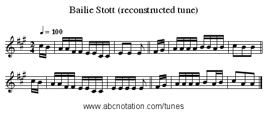 Bailie Stott (reconstructed tune) - staff notation