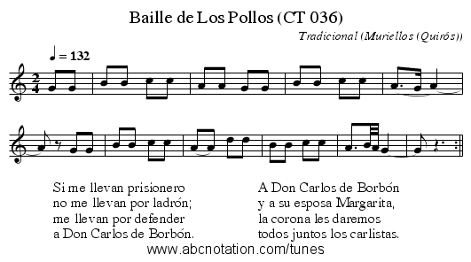 Baille de Los Pollos (CT 036) - staff notation