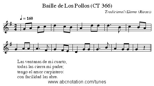 Baille de Los Pollos (CT 366) - staff notation