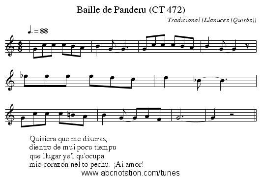 Baille de Panderu (CT 472) - staff notation