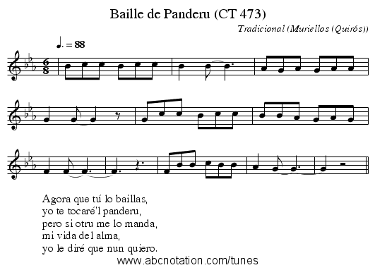 Baille de Panderu (CT 473) - staff notation