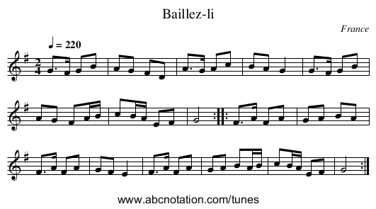 Baillez-li - staff notation