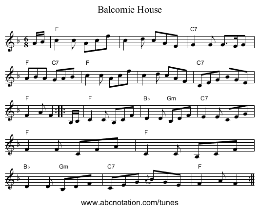 Balcomie House - staff notation