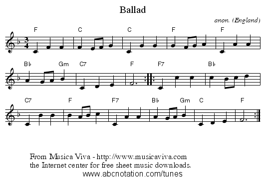 Ballad - staff notation