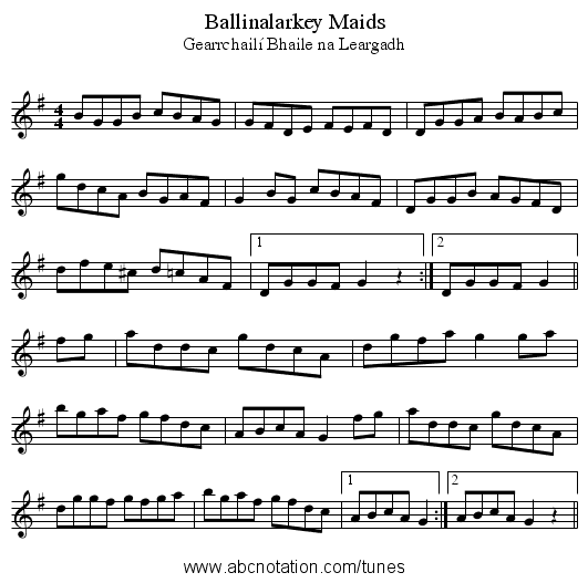 Ballinalarkey Maids - staff notation