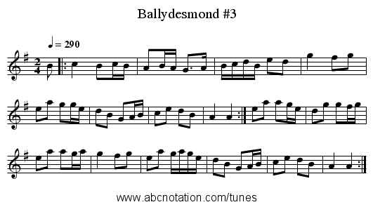 Ballydesmond #3 - staff notation