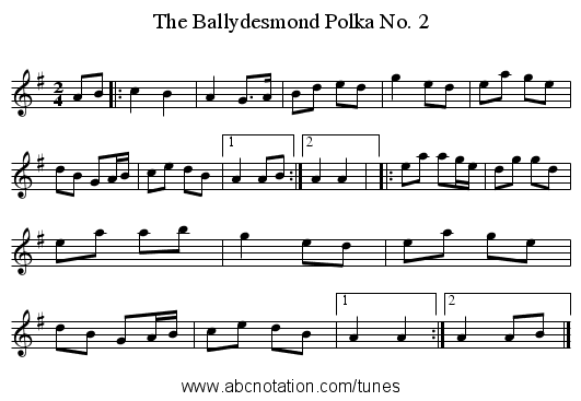 Ballydesmond Polka No. 2, The - staff notation