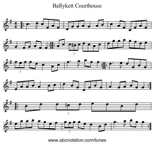Ballyket Courthouse - staff notation