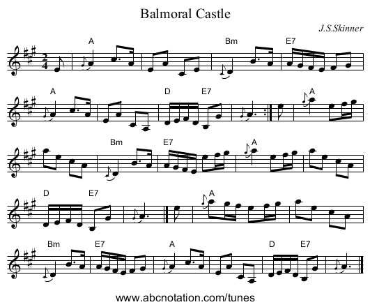 Balmoral Castle - staff notation