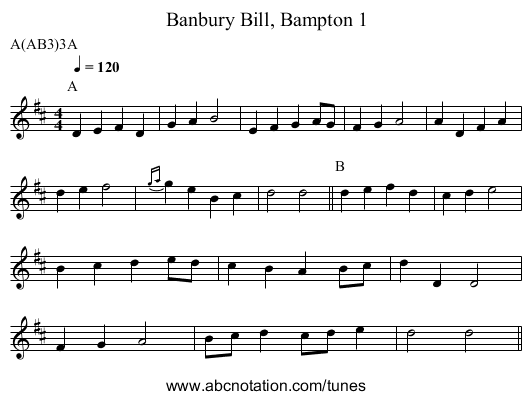 Banbury Bill, Bampton 1 - staff notation