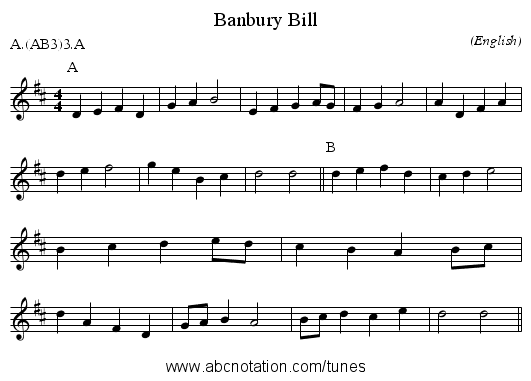 Banbury Bill - staff notation