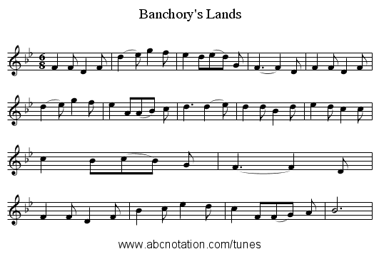 Banchory's Lands - staff notation