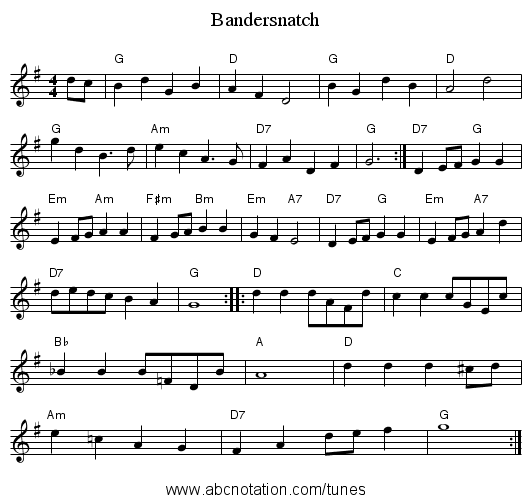 Bandersnatch - staff notation