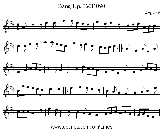 Bang Up. JMT.090 - staff notation
