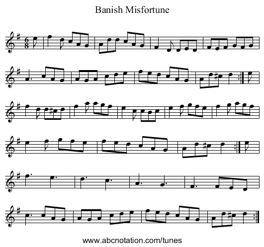 Banish Misfortune - staff notation