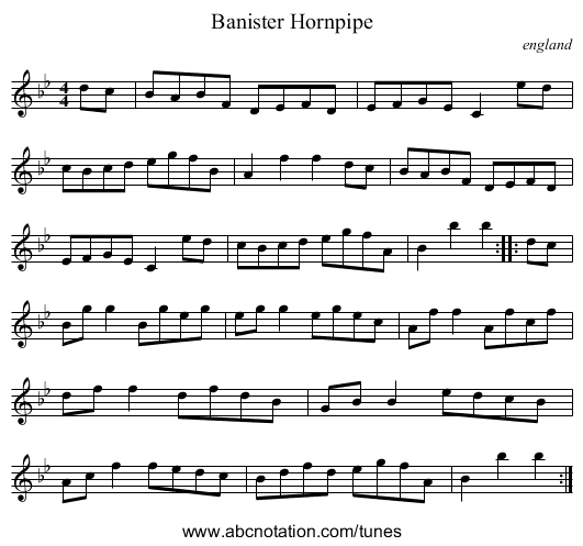 Banister Hornpipe - staff notation