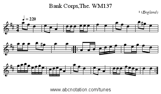 Bank Corps,The. WM137 - staff notation