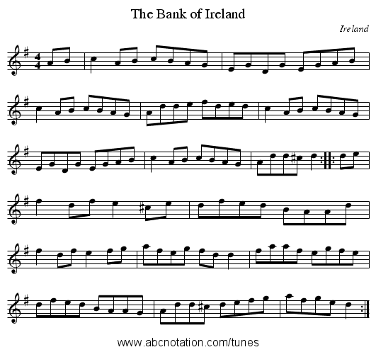 Bank of Ireland, The - staff notation