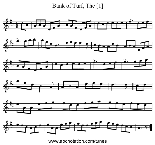 Bank of Turf, The [1] - staff notation