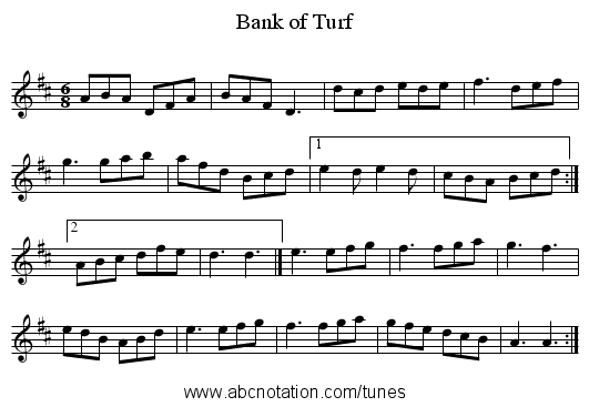Bank of Turf - staff notation