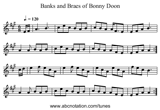 Banks and Braes of Bonny Doon - staff notation