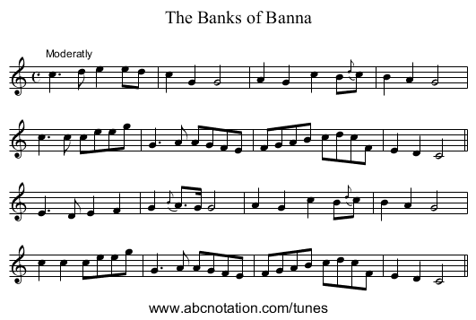 Banks of Banna, The - staff notation