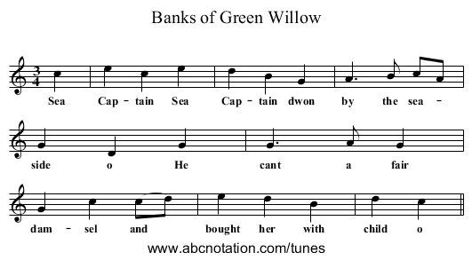 Banks of Green Willow - staff notation