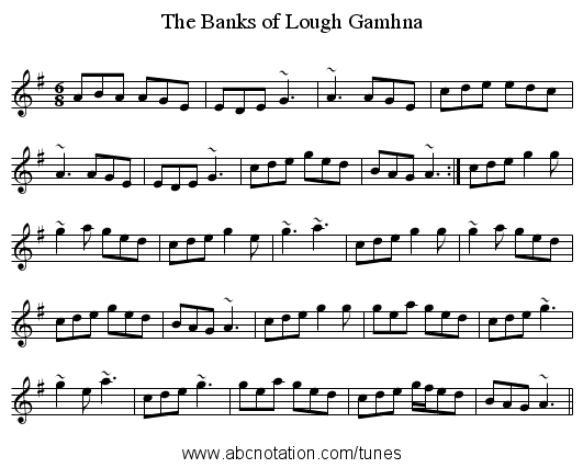 Banks of Lough Gamhna, The - staff notation