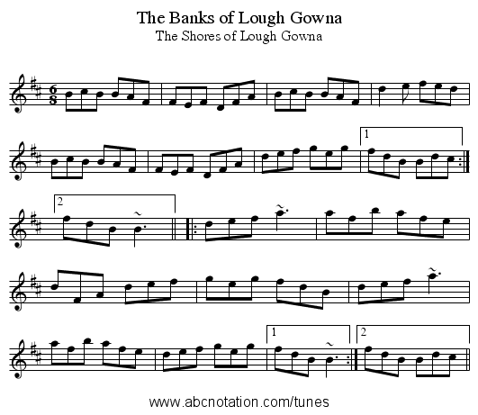 Banks of Lough Gowna, The - staff notation