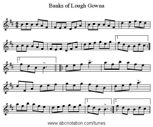 Banks of Lough Gowna - staff notation