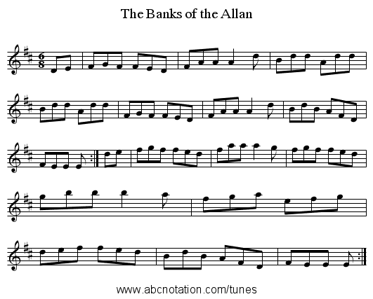 Banks of the Allan, The - staff notation