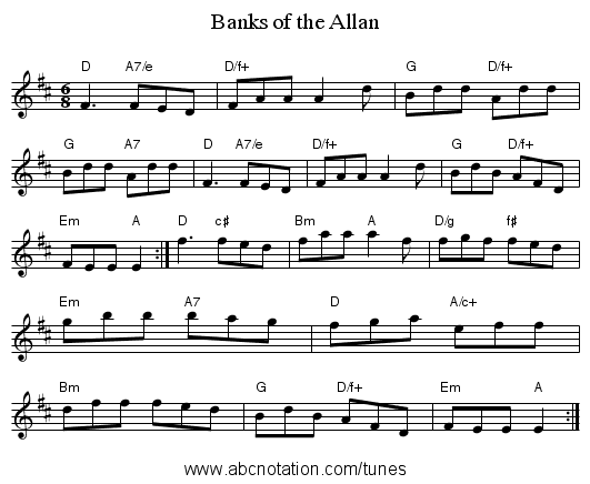 Banks of the Allan - staff notation