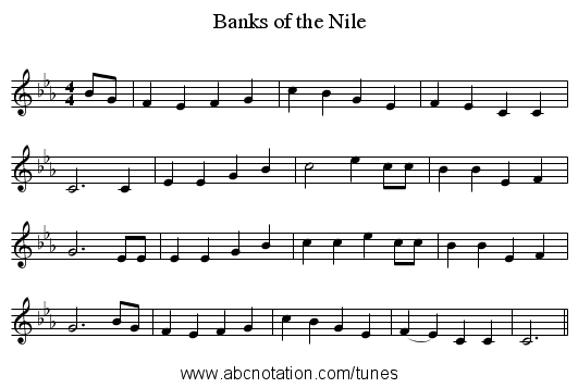 Banks of the Nile - staff notation