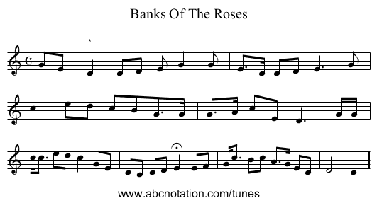 Banks Of The Roses - staff notation