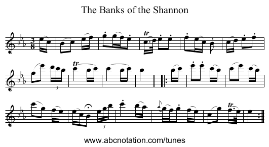 Banks of the Shannon, The - staff notation