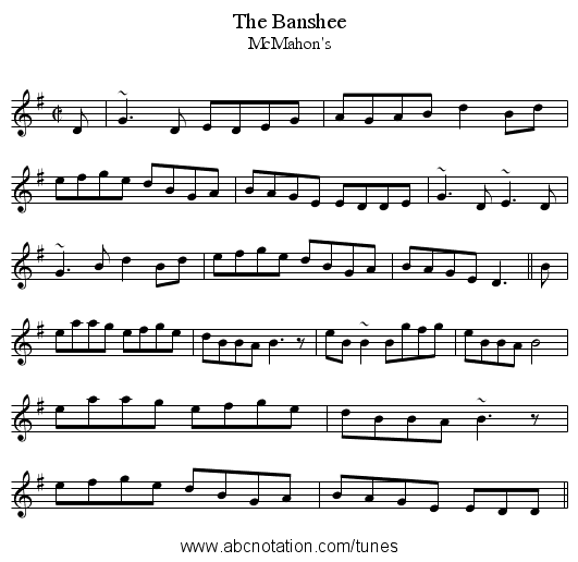 Banshee, The - staff notation
