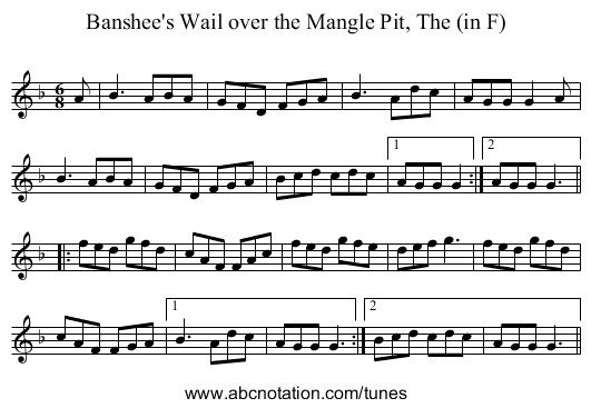Banshee's Wail over the Mangle Pit, The (in F) - staff notation